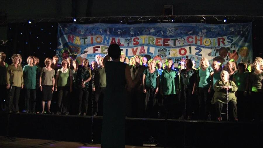 Sat Evening Concert in Bury – With banner